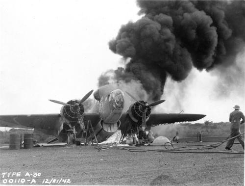 Burning allied bomber in 1942. Credit: John Atherton